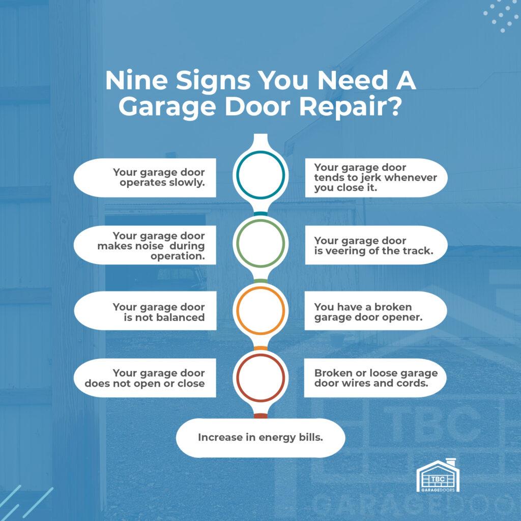 Nine Signs You Need a Garage Door Repair